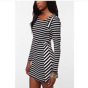 Black and white striped long sleeve mini dress